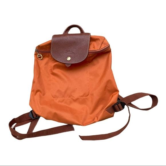 Longchamp Le Pliage a Sac Dos Orange Backpack